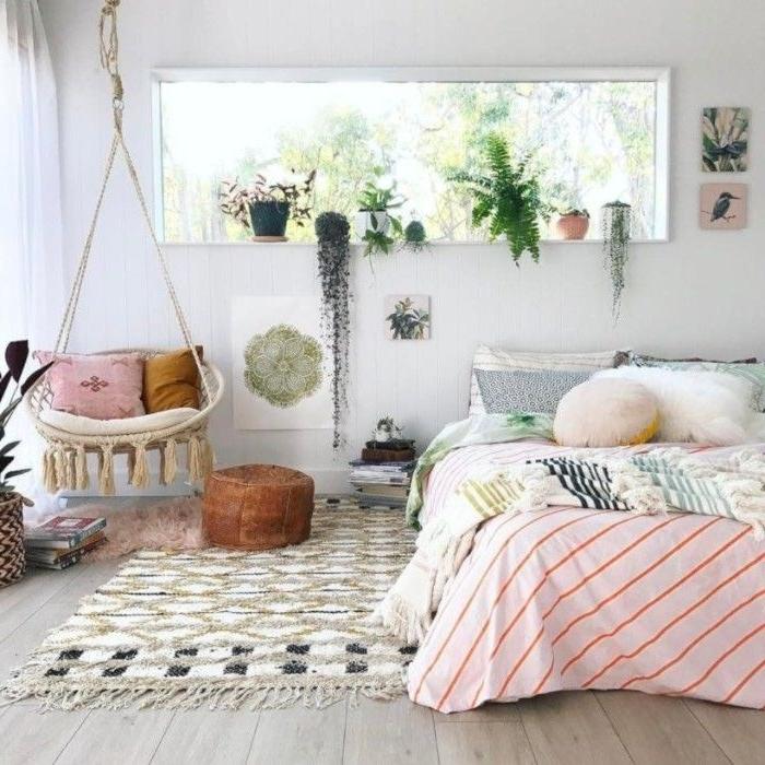 schlafzimmermöbel, eine schöne idee in weiß und rosa, pflanzen, dekorationen und ideen in hellen farben