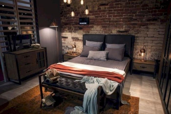 schlafzimmer gestalten, ein dunkles zimmer, zimmerdesign idee mit dunkler licht, designer