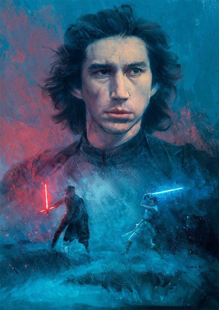 jedi ritter, die sich kämpfen, eine frau mit einem langen blauen lichtschwert, der jedi kylo ren mit einem roten lichtschwert, the rise of skywalker