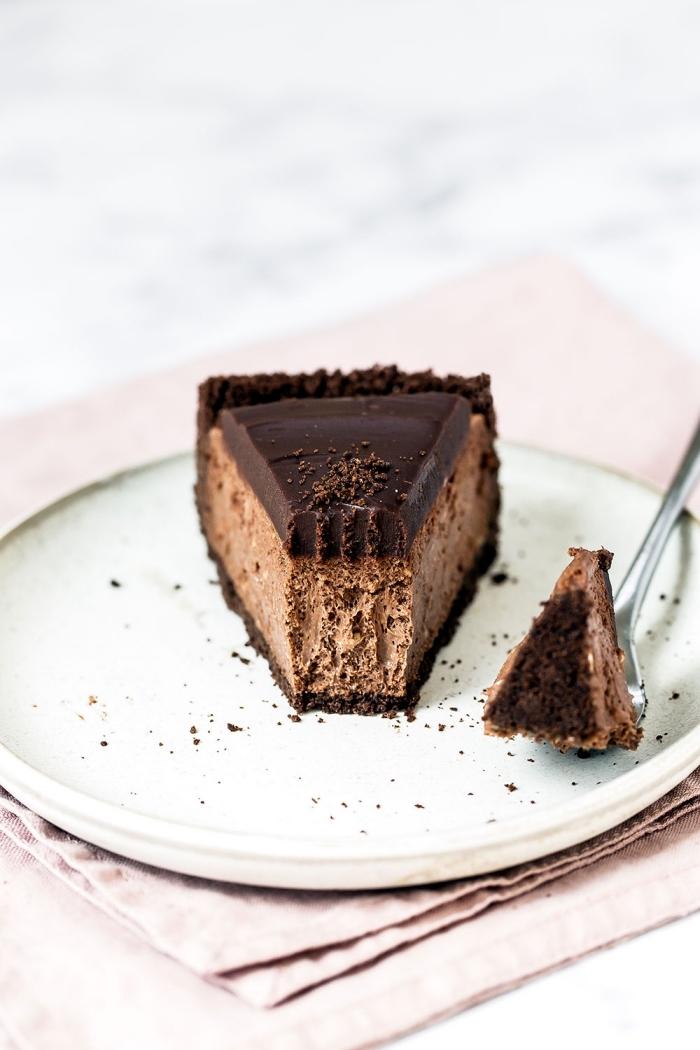 dessert zum vorbereiten am vortag, cheesecake mit shcokolade, schokoladenkuchen rezept