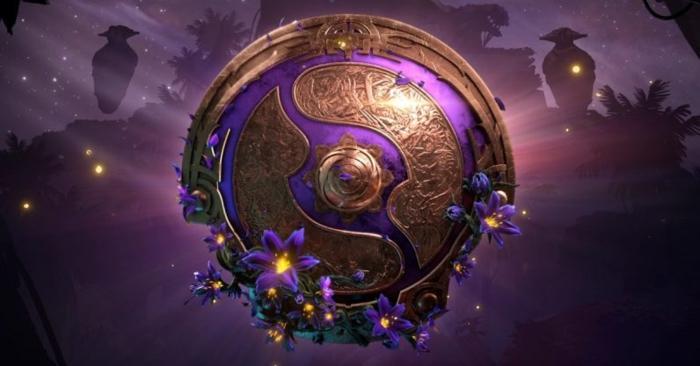 lila Zeichen mit lila Blumen, von dem Spiel Dota 2, eine geheimnisvolle Wirkung