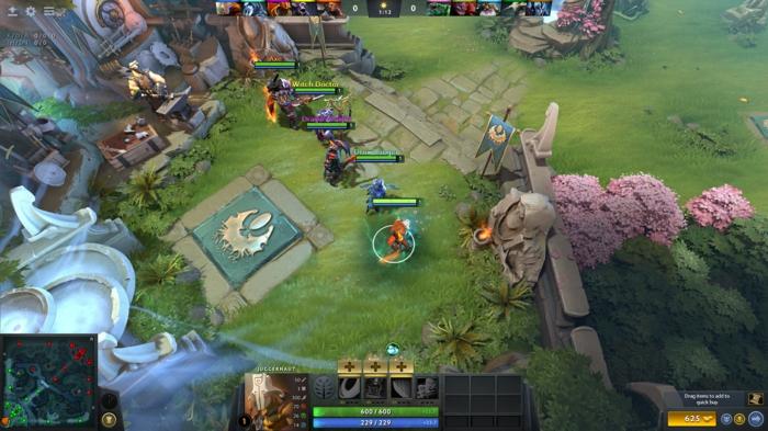 ein Screenshot von Dota 2, die Helden kämpfen sich um den Sieg, grüner Gras
