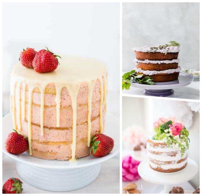 dripping cake rezept mit erdbeeren, zuckerglasur mit zitronen, tortendeko ideen eifnach
