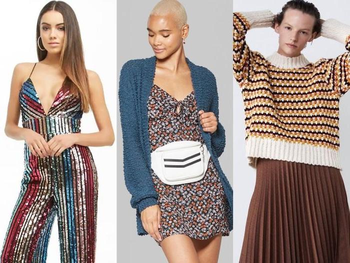 fair trade kleidung, drei outfit ideen, kleidung zum nachmachen, stil ideen, jumpsuit, rock mit pulli, kleid mit weste, saison kleidung
