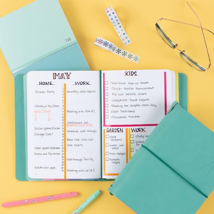 bullet journal key deutsch, mama tagebuch idee zum aufteilen, mai, juni, zuhause, arbeit, kinder, garten