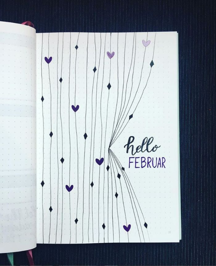 weekly spread bullet journal, februar heft dekorationen und ideen zum entlehnen, kleine herzchen ideen