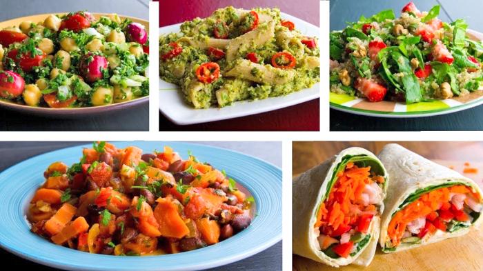 einfache vegetarische rezepte, abendessen ideen, pasta mit pesto soße und cherry tomaten, boritos