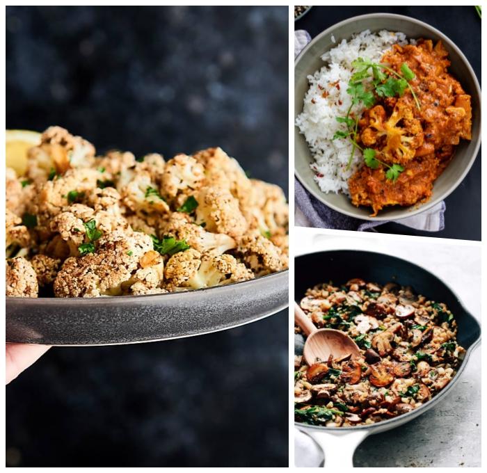 einfache vegetarische rezepte, blumenkohl mit soße und reis, gerichte ohne fleisch, pilzen
