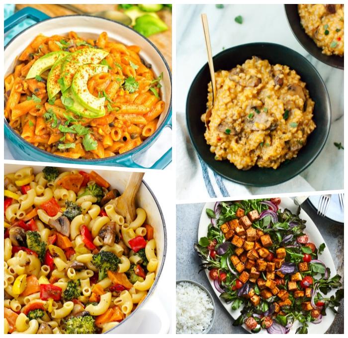 einfache vegetarische rezepte, pasta mit tomatensoße und avocado, tofu mit gemüse, mittagessen ideen
