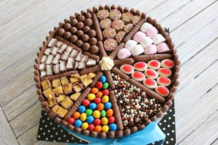 einfacher geburtstagskuchen für kind, süßigkeiten torte selber machen, bunte bonbons, schokoaldentiegeln