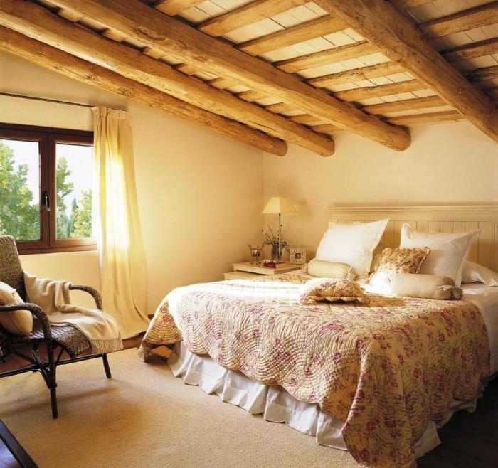 schlafzimmermöbel, shabby stil idee in kombination mit landhausstil, holz und beton, großes bett
