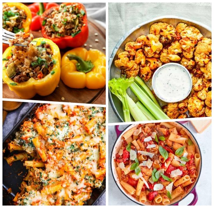essen ohne fleisch, vegetarische rezepte zum mittagessen, gefüllte paprikas, pasta mit parmesan und gemüse