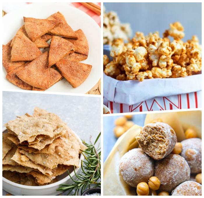 essen zum mitnehmen, crackers mit gewürz, popcorn mit karamell, energy bites mit michererbsen