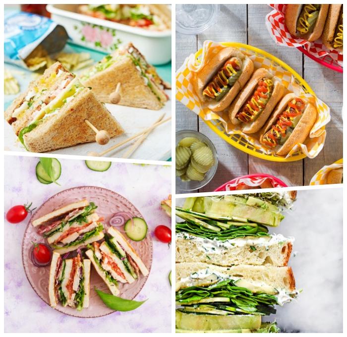 essen zum mitnehmen, sandwich rezepte, kleine hot dogs, partyessen ideen, einfach