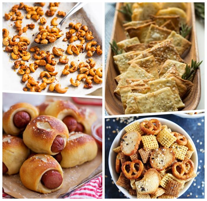 essen zum mitnehmen, kleine gebäcke mit würstchen, cashewnüsse mit gewürz, salzige crackers