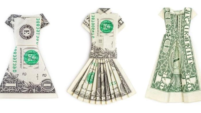 alternative kleidung, geldschein print für kleider, ideen kreative kleidungsmode
