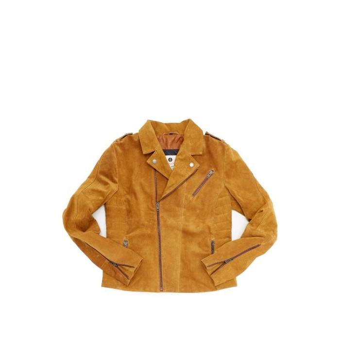 alternative kleidung, eine schöne beige jacke mit zipper und langen ärmeln, coole outfit ideen