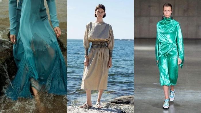 faire kleidung, drei outfits, ideen zum inspirieren, ürkis jumpsuit, beiges kleid, blaue seidenkleidung
