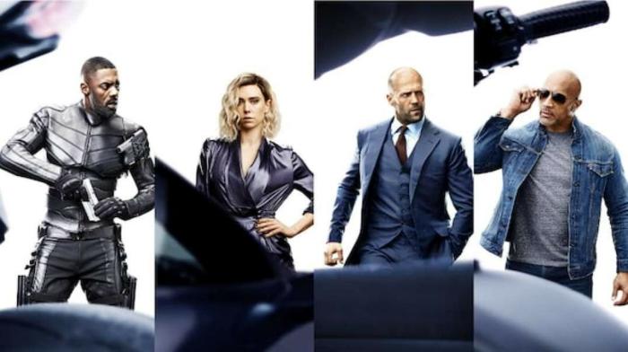 vier Poster von Fast Furious Hobbs Shaw, mit vier Helden, die schön posieren