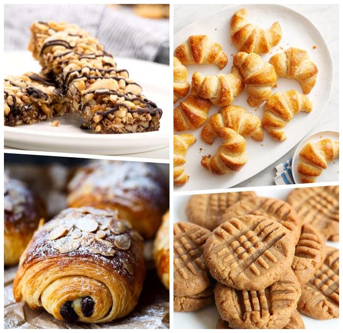 riegel mit nüssen, proteinriegel slesbtgemacht, fingerfood rezepte einfach, mini croissants, kekse mit erdnussbutter