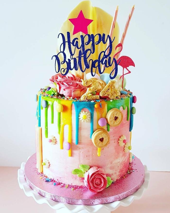 geburtstagskuchen für kinder ideen, torte für mädchen, bunte geburtstagstorte, torte dkorieren