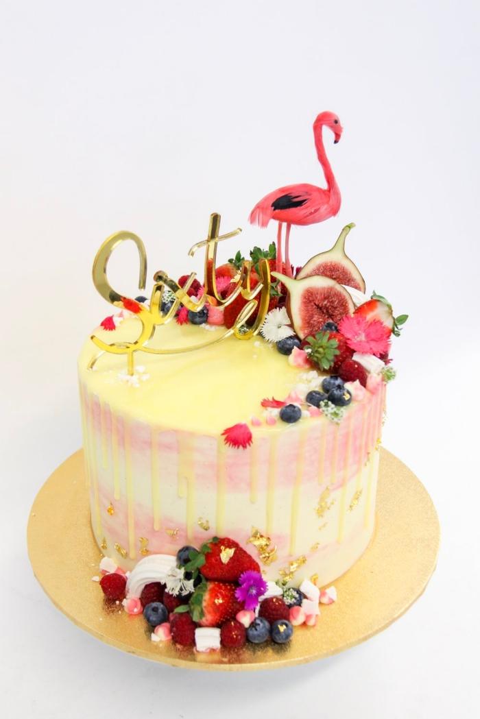 torte zum geburtstag selebr machen, flamingo, geburtstagskuchen für kinder, früchte