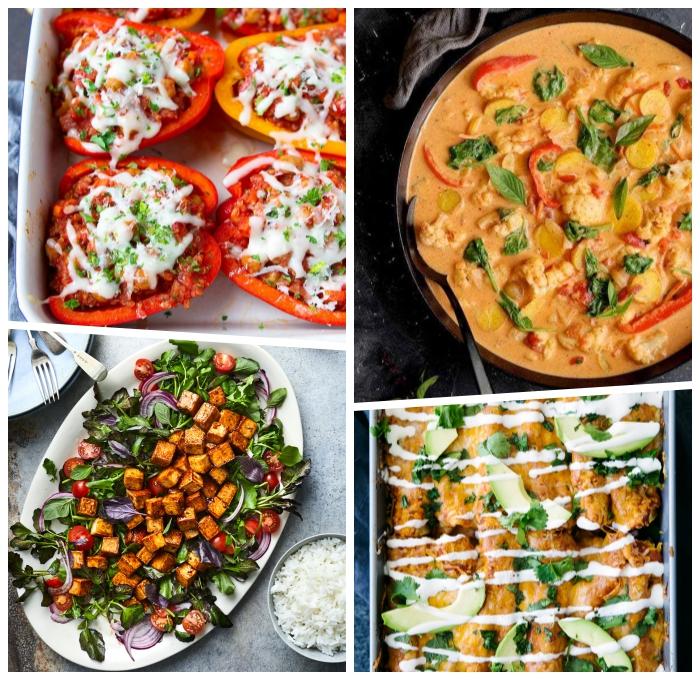 leckere vegetarische rezepte, paprikas mit füllunf aus gemüse und käse, gericht mit tofu, suppe mit blumekohl