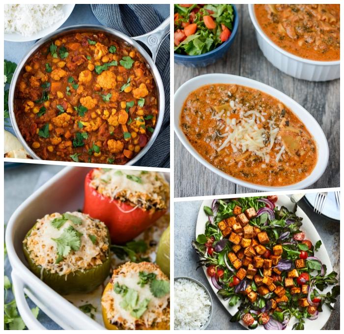 gesunde vegetarische rezepte, suppe mit blumenkohl und bohnen, gefüllte paprikas mit gemüse und käse