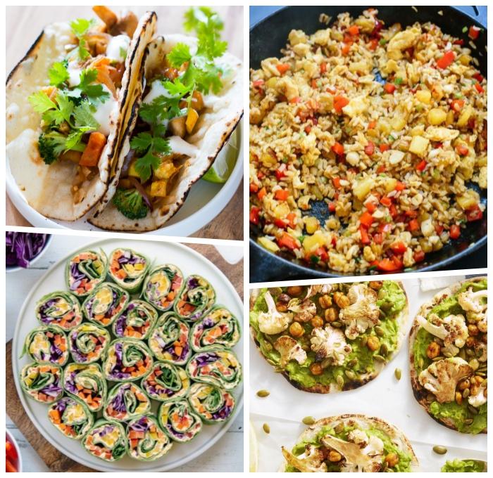 gesunde vegetarische rezepte ideen, mittagessen ohne fleisch, vegane frühlingsrollen, reis mit paprikas