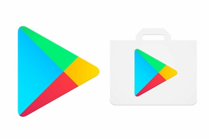 Google Play Store mit zwei Logos, ein Dreieck und eine bunte Einkaufstüte