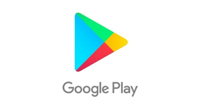 das Logo von Google Play Store, sehr bunt mit grauen Buchstaben auf weißem Hintergrund