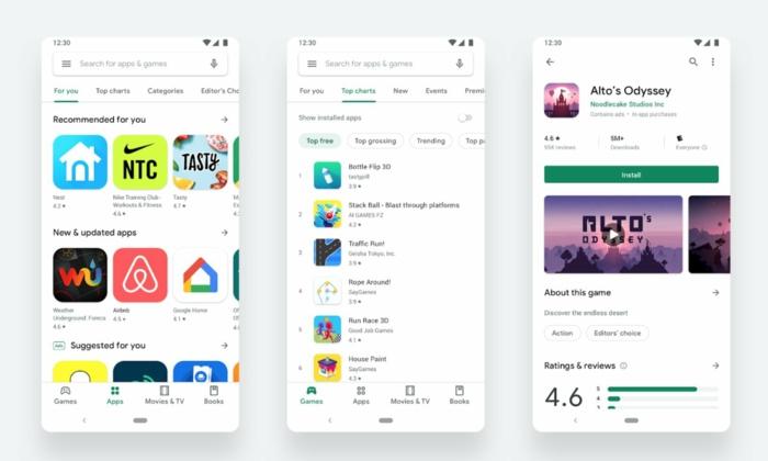 drei Displays, die die neuen Funktionen von Google Play Store zeigen, neues Design