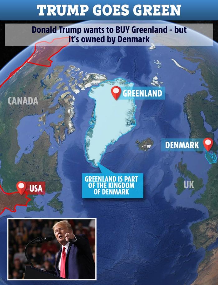 Grönland ist hier, zeigt der Präsident mit dem Finger, er will die größte Insel der Welt haben