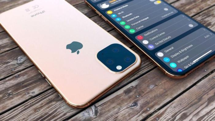 ein rosa Handy, mit einem Apple Symbol, vier Kameras und ein anderes iPhone mit iOS