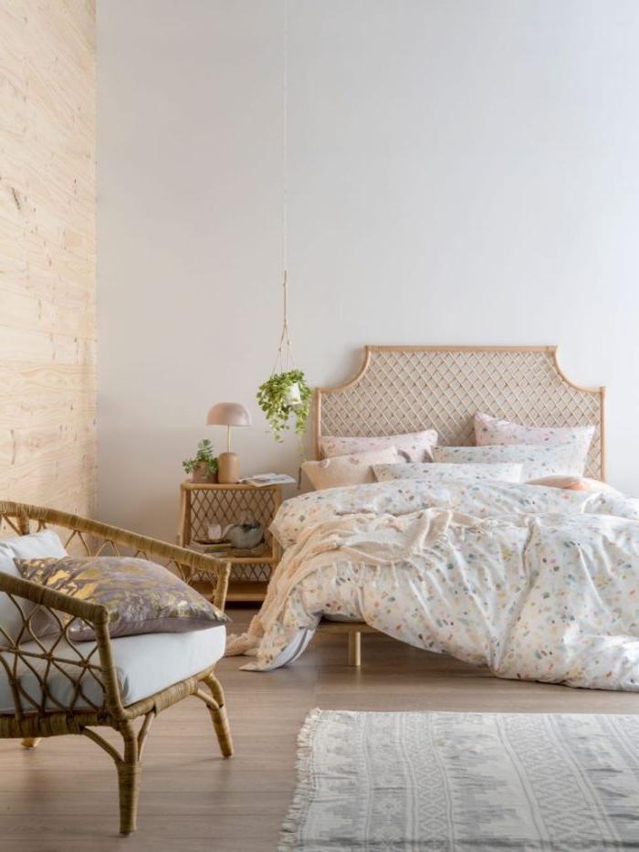 bilder schlafzimmer, ein zimmer design weiß und beige, zimmer gestaltung ideen, blumen in blumentopf