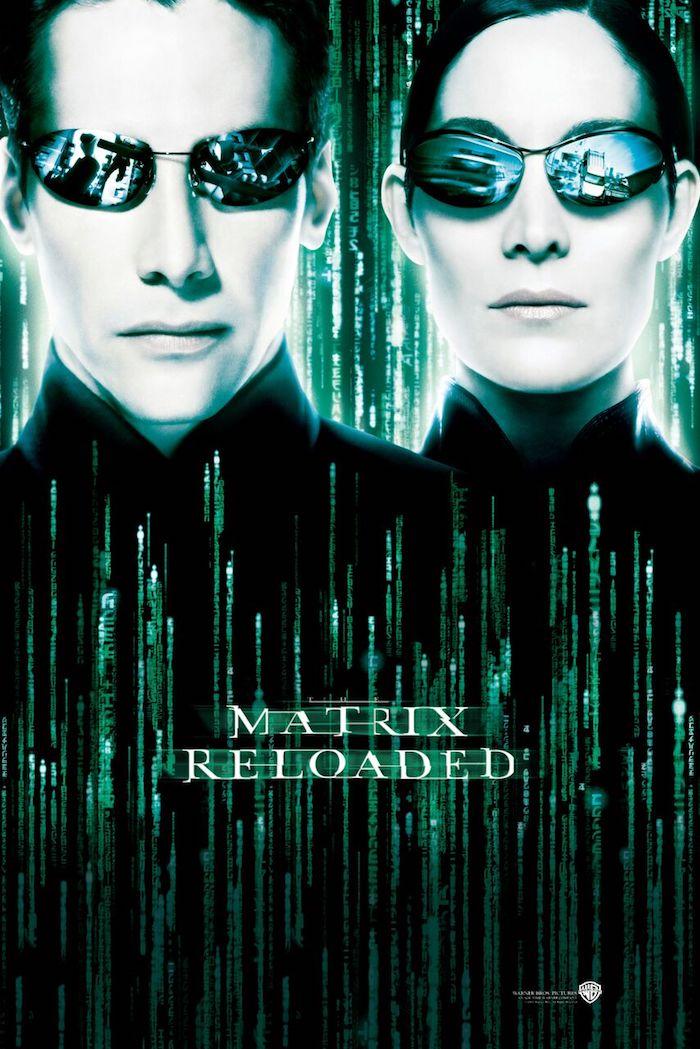 poster zu dem film the matrix reloaderd, nei und trinity, der schauspieler Keanu Reeves , mann und frau mit schwarzen brillen