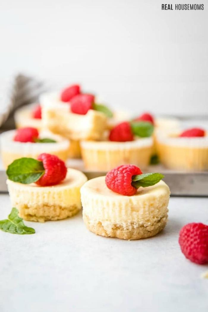 käsekuchen low carb, mini cheesecakes mit himbeeren, party dessert rezept, frischkäsekuchen