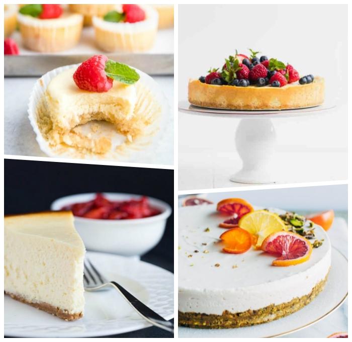 käsekuchen ohne mehl, cheesecake rezepte, torte mit beeren, party dessert ideen