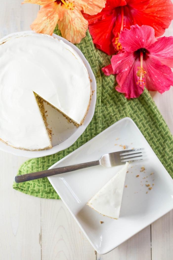 käsekuchen hone mehl, gesunder frischkäsekuchen, einfaches rezept, cheesecake ohne backen