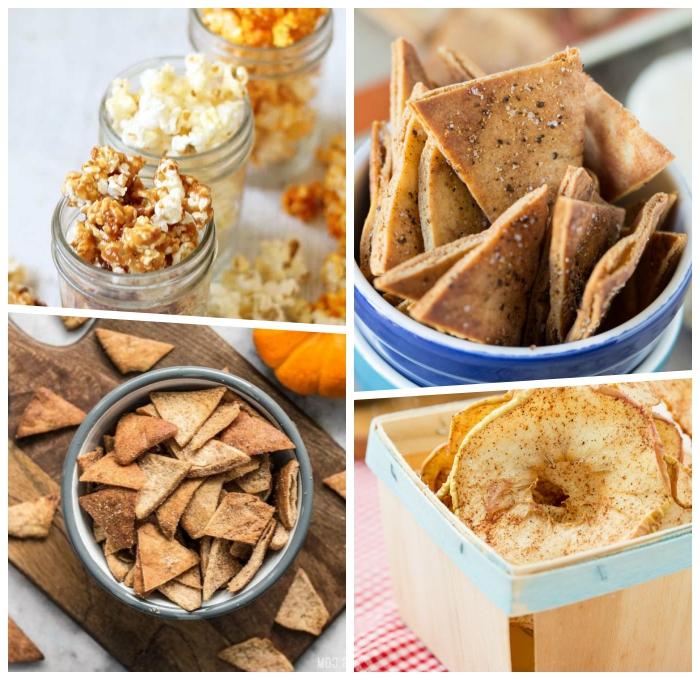 kalorienarme snacks, popcorns mit karamell, crackers mit samen, apfelringe mit zimt