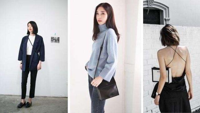 mode versand, bildcollage aus drei bildern, pullover blazer, kleid, tasche,