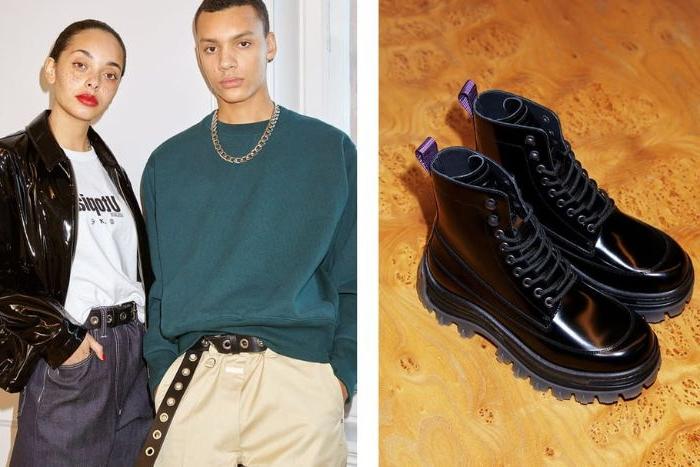 mode versand, trendschuhe schwarz mann und frau models, halskette, casual outfit