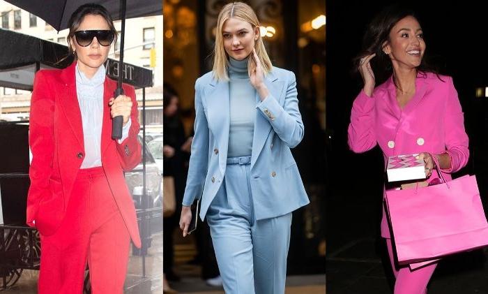 französische mode online shop, ideen einfärbige modeideen rot, blau, rosa, anzug für frauen