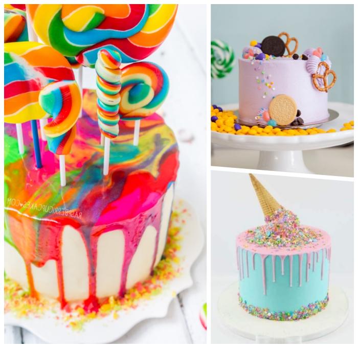 kinder kuchen selber machen, torte mit glasur in den regenbogenfarben, eicsreme kuchen