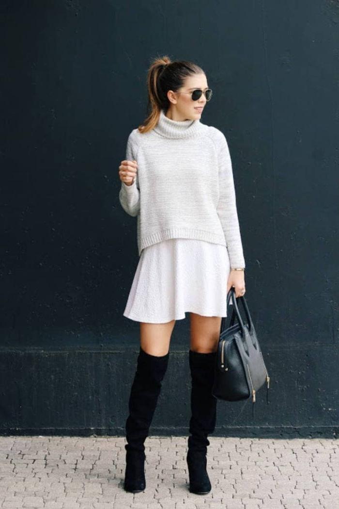 coole marken, weißer rock, hohe stiefel, weißer pulli, tasche trendy ideen