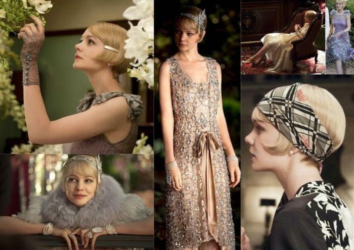 20er jahre party, collagebild mit stilideen vom film the great gatsby frauenmode