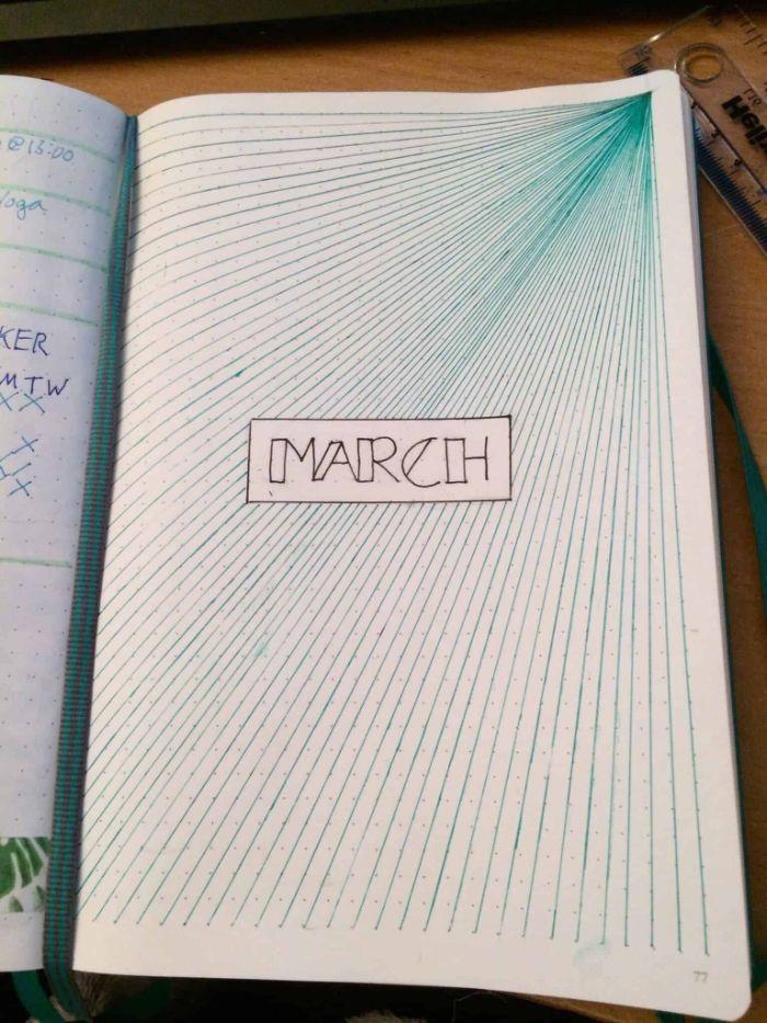 wochenübersicht bullet journal, ein heft dekorieren, märz dekorationen, blaue linien im heft anmalen, ideen zum entlehnen