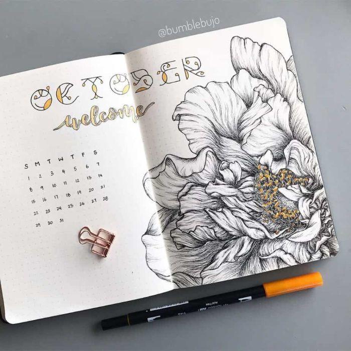 wochenübersicht bullet journal, ein heft offen in der mitte, kalender, oktober, blumen