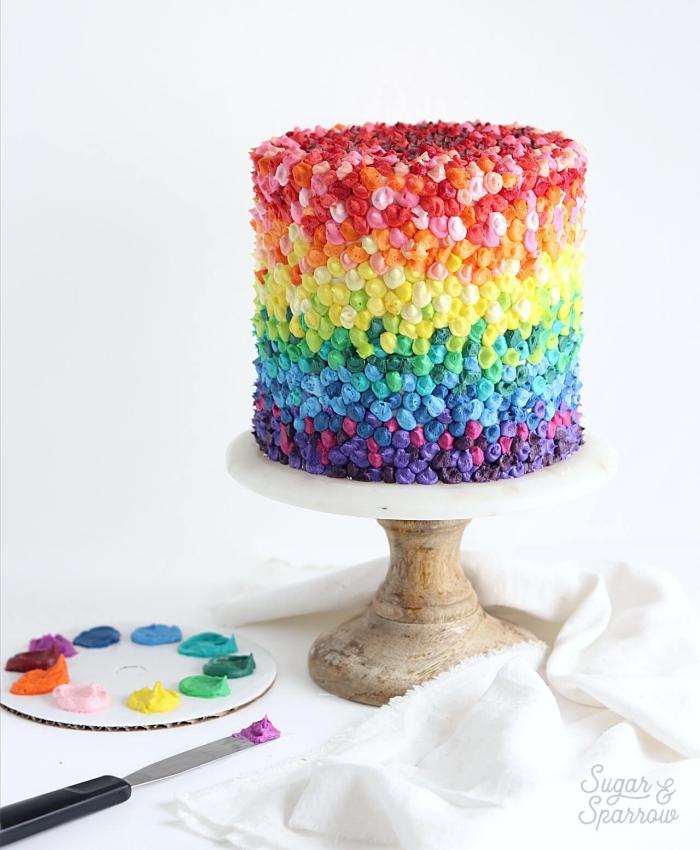 kuchen für kinder, torte in regenbogenfarben, geburtstagstorte selber machen, bunt