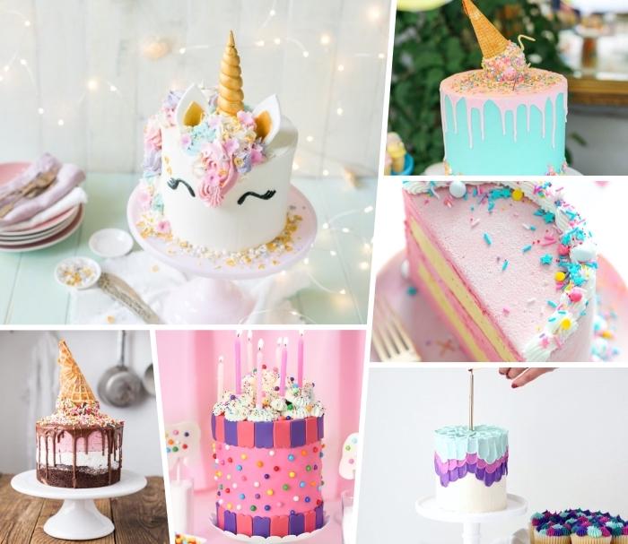 kuchen für kindergeburtstag, einhorn torte selebr machen, kuchen mit eiscreme, geburtstagstorte ideen